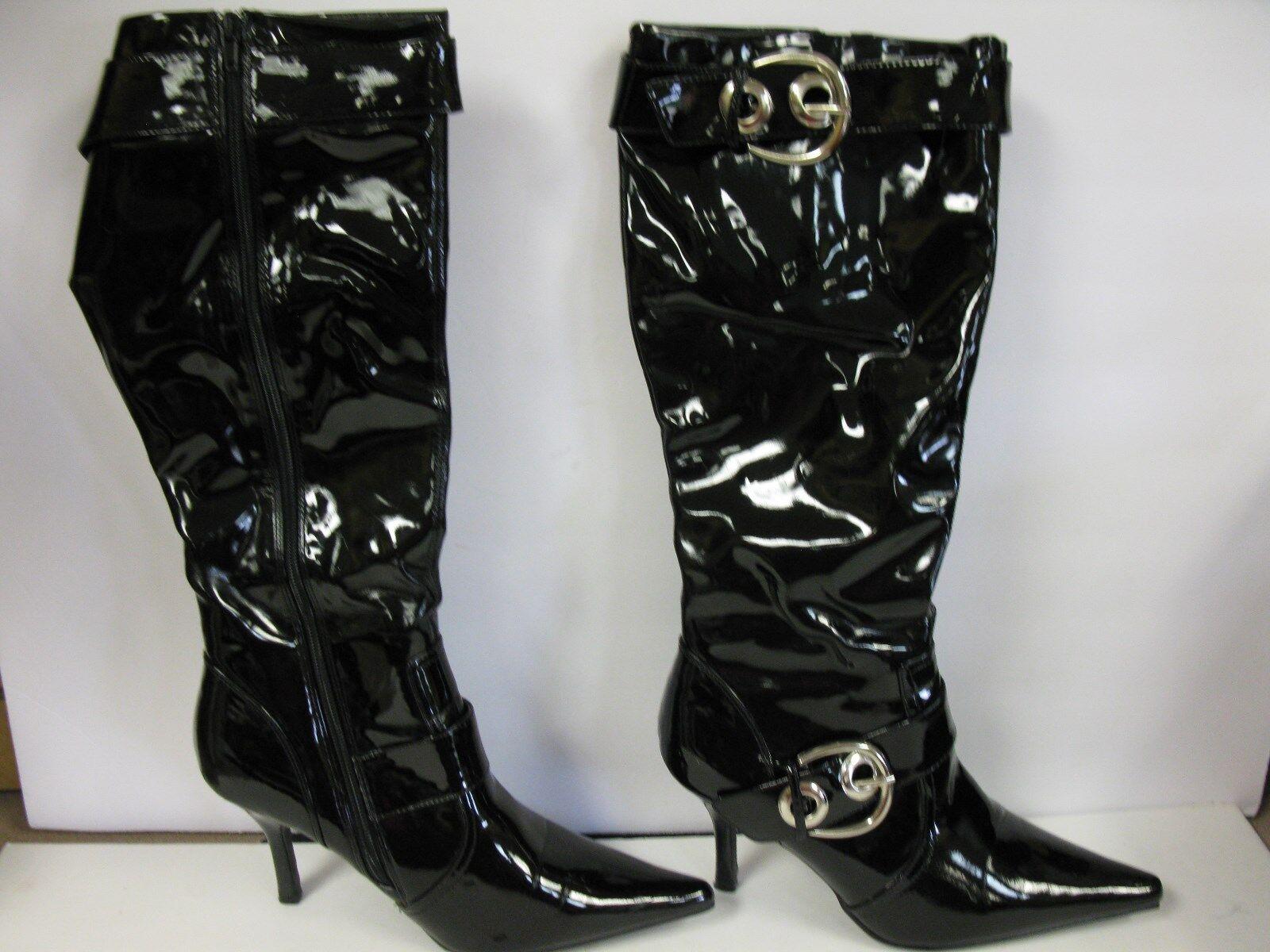 CL Laundry Botas Rodilla para mujer Negro Botas Hasta La Rodilla Botas brillante 10M e001aa