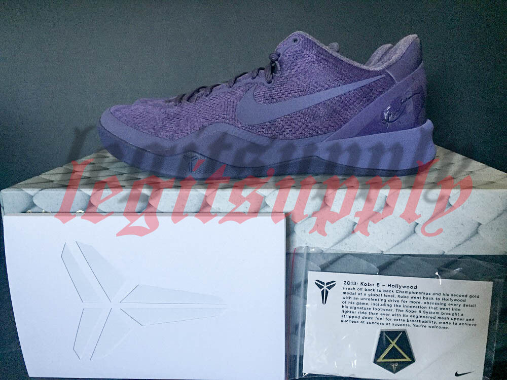 Nike Zoom Kobe 8 VIII FTB Fade To Black Mamba 10-11.5 Dk Raisin 869456-551 Pin