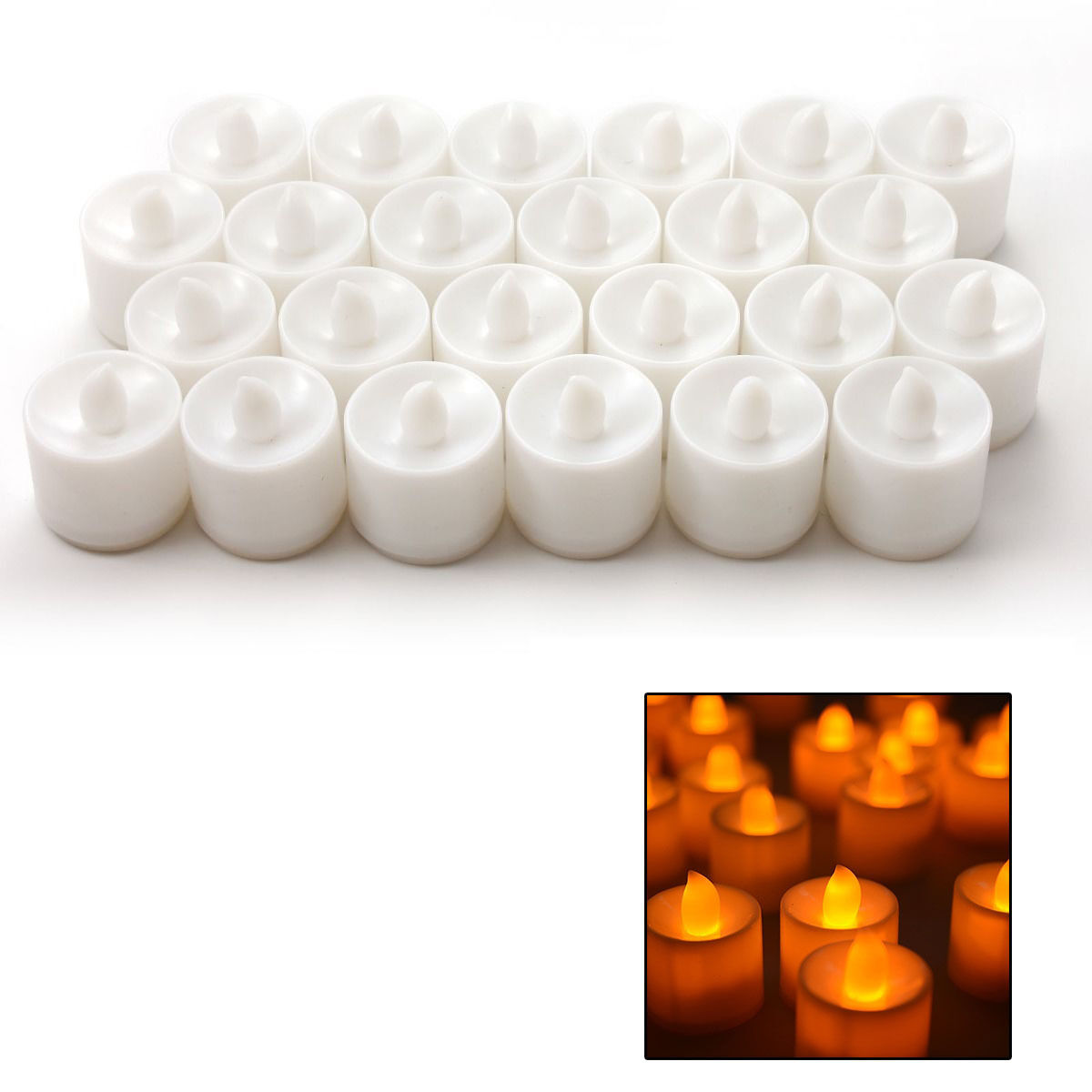 flickering led candles tea light battery operated warm white ebay. Black Bedroom Furniture Sets. Home Design Ideas