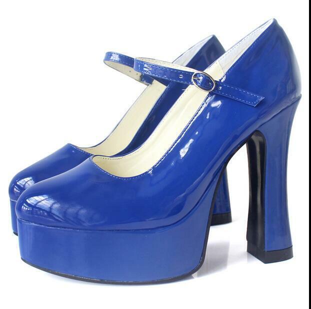 Sexy Ladies High Heel shoes Stilettos Ankle Buckle Platform Round Toe Lolita New