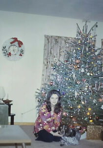 Vintage-Photo-Slide-1973-Christmas-Woman-Dog-Posed-Tree-Holiday-New-York