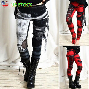 Halloween-Women-Steampunk-Gothic-Leggings-Skinny-Cosplay-Party-Pants-Trousers-US