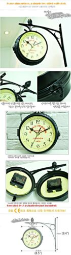"""NEW Antique Style /""""London/"""" Interior Double Sided Wall Clock Home Office Decor"""