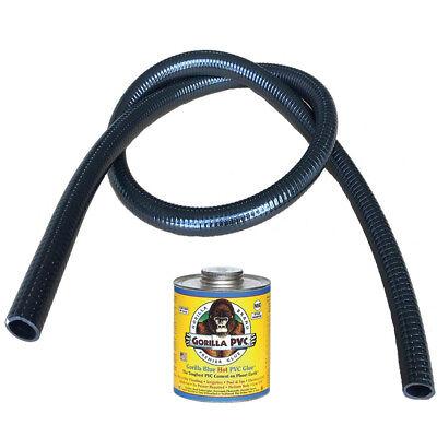 "1 1//2/"" x 10/' HydroMaxx® Black Flexible PVC Pipe for Pools Ponds with Free Glue"