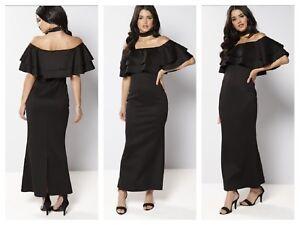 39200e3fca Women s Dress By Club L Bardot Choker Double Frill Maxi Size 12 18 ...