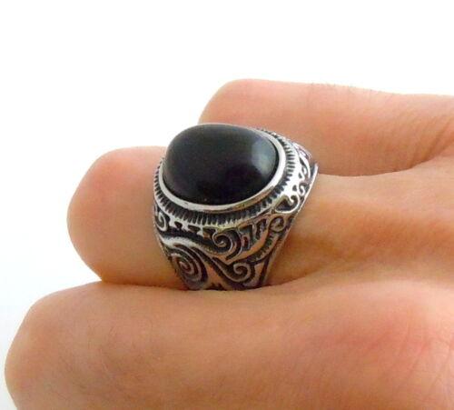 Herren Schwarze Oval Stein Ring Edelstahl Vintage Royal Schnörkel Muster