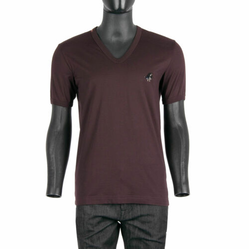 DOLCE /& GABBANA Metal Bird Embroidery V-Neck T-Shirt Cotton Bordeaux Red 08132