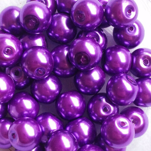 jewellery making Mauve 40 round pearl beads 10mm Glass faux Pearls purple