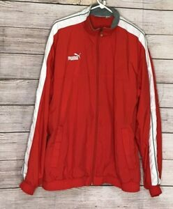 Details about Puma Mens Size XL Windbreaker Jacket Lightweight Red White Vented Lining