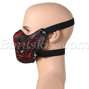 Red-Punk-Spike-Rivet-Half-Face-Cotton-Mask-Outdoors-Motorcycle-Biker-Protection