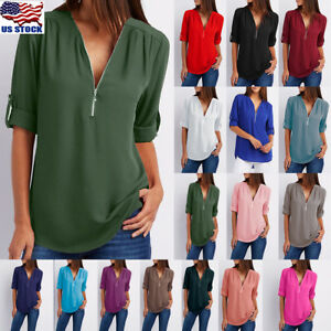 Women-Chiffon-Loose-Tops-Long-Sleeve-Sexy-Zip-V-Neck-T-Shirt-Casual-Blouse-Shirt