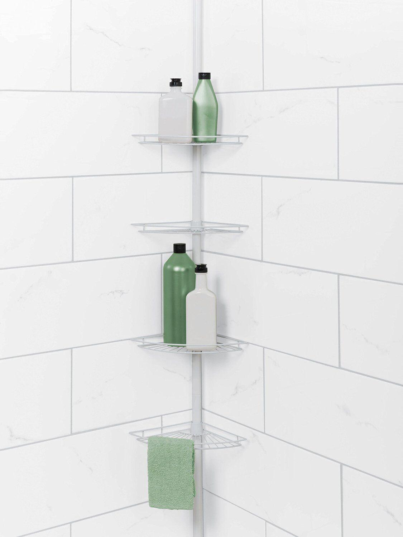 Corner Bath Rack Holder Tension Pole Mount Shower Caddy Shelf Soap ...