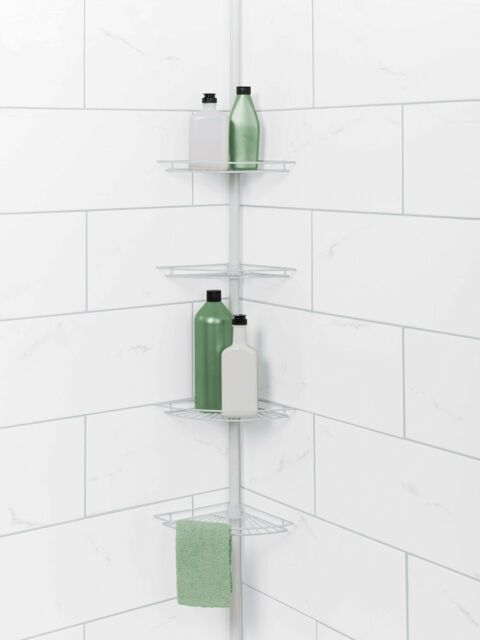 Corner Bath Rack Holder Tension Pole Mount Shower Caddy Shelf Soap Bathtub  White
