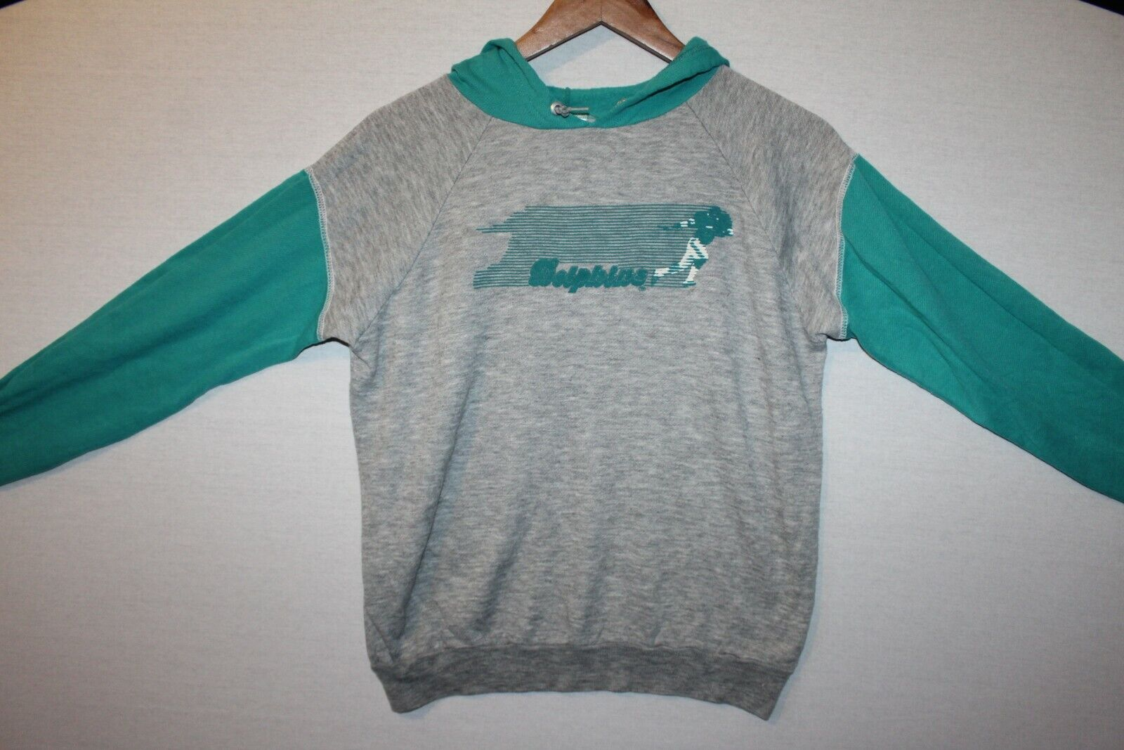 Dolphins Baseball Turquoise Grey Hoodie Sweater Size XL American USA Sports