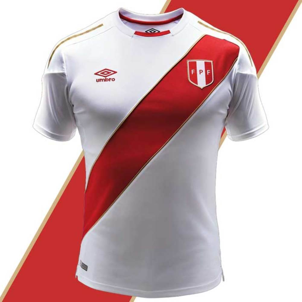 Peru World Cup Home Soccer Jersey S M L XL Shirt Authentic Original bianca FIFA18