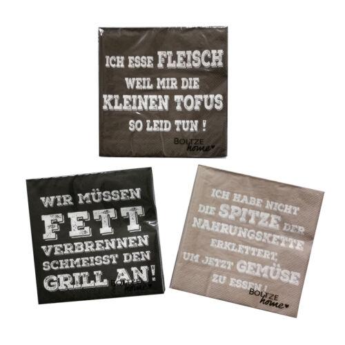 3 x 20 Servietten /'Fleisch/' Braun Lustige Lunchservietten Coole Sprüche Grillen