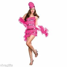 Ladies Pink Fringed 1920's Charleston Flapper Costume - Great for Halloween