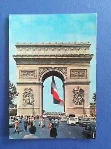 CPA-AUTOMOBILES-PARIS-ARC-TRIOMPHE-BUS-SIMCA-404-R4-R8-OPEL