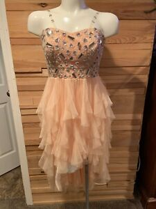 bfa93d87f9 Details about Arden B High Low Peach Chiffon Prom Homecoming Dress Size  XS/S *FREE SHIPPING*