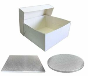 Single-White-Cake-Box-and-Silver-Board-Pack-Thick-Drum-for-Wedding-Party-etc