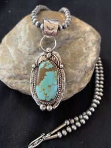 Navajo-Pearls-Sterling-Silver-Green-Royston-Turquoise-Necklace-Pendant-Gift-947