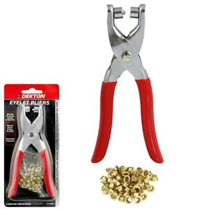 Eyelet Fabric Punch Pliers Leather Canvas Hole Puncher Tool 50 Brass Eyelets