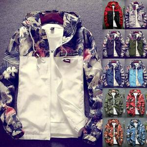 Men-Floral-Hoodie-Hooded-Waterproof-Windbreaker-Sports-Coat-Jacket-Outwear-Tops