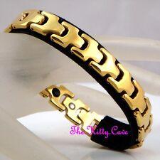 Tungsten Carbide Magnetic Arthritis Relief Ladies Mens 24k Gold Plated Bracelet