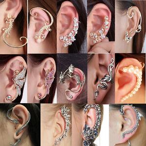 Retro-Women-Clip-Ear-Cuff-Stud-Rhinestone-Crystal-Wrap-Cartilage-Earring-Jewelry