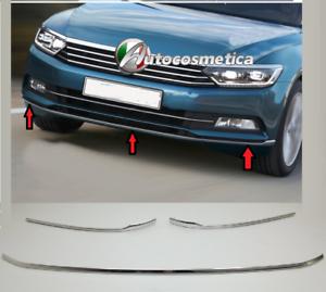 VW-PASSAT-B8-Modanature-Paraurto-Anteriore-Cornice-Cromata-Adesive-Acciaio-Inox