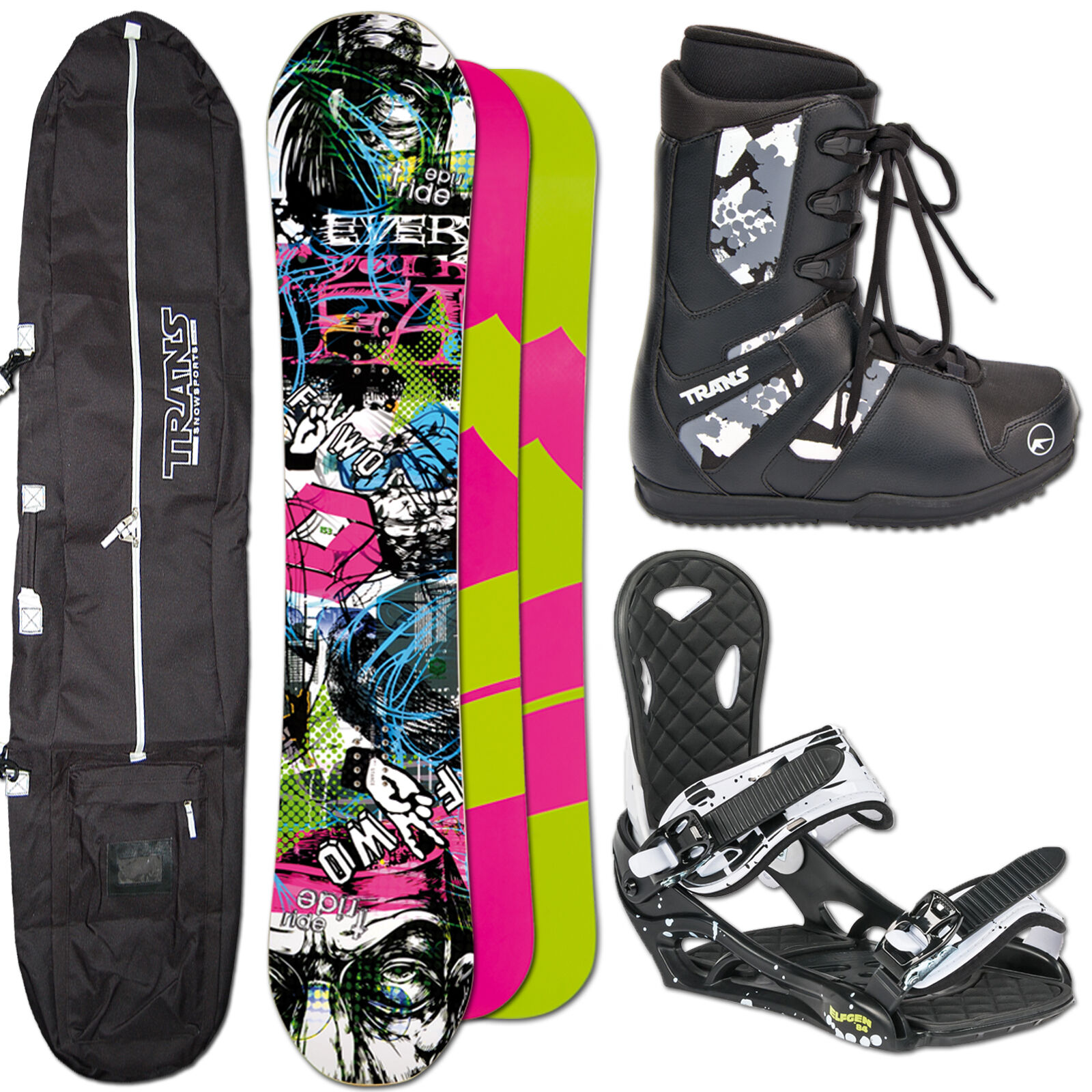 SNOWBOARD SET FTWO T-RIDE 148 CM + ELFGEN ECO BINDUNG M + BAG + BOOTS