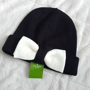 7ec7f7942b0b87 New Kate Spade New York Black With White Bow Beanie Hat One size ...