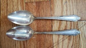 """2 ANTIQUE COLLECTIBLE TEA SPOONS 6"""" W.R. SILVER PLATE - A1"""