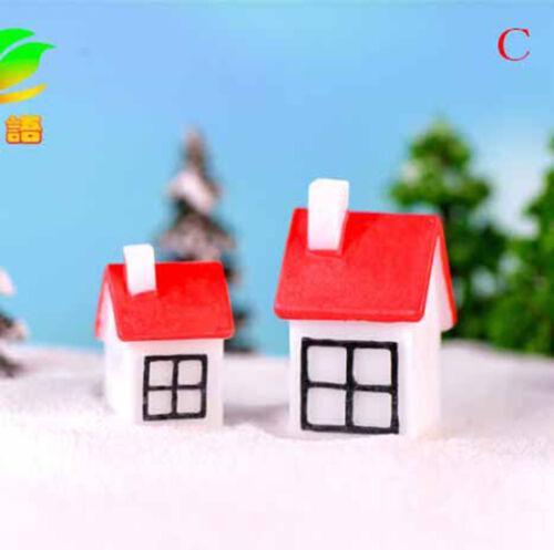 2pcs Christmas house Miniatures For Fairy Garden Gnomes Moss Terrariums Decor MW