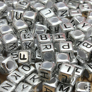 100-x-6mm-Silver-Alphabet-Beads-Mixed-Letters-Pony-Beads-Dummy-Clips