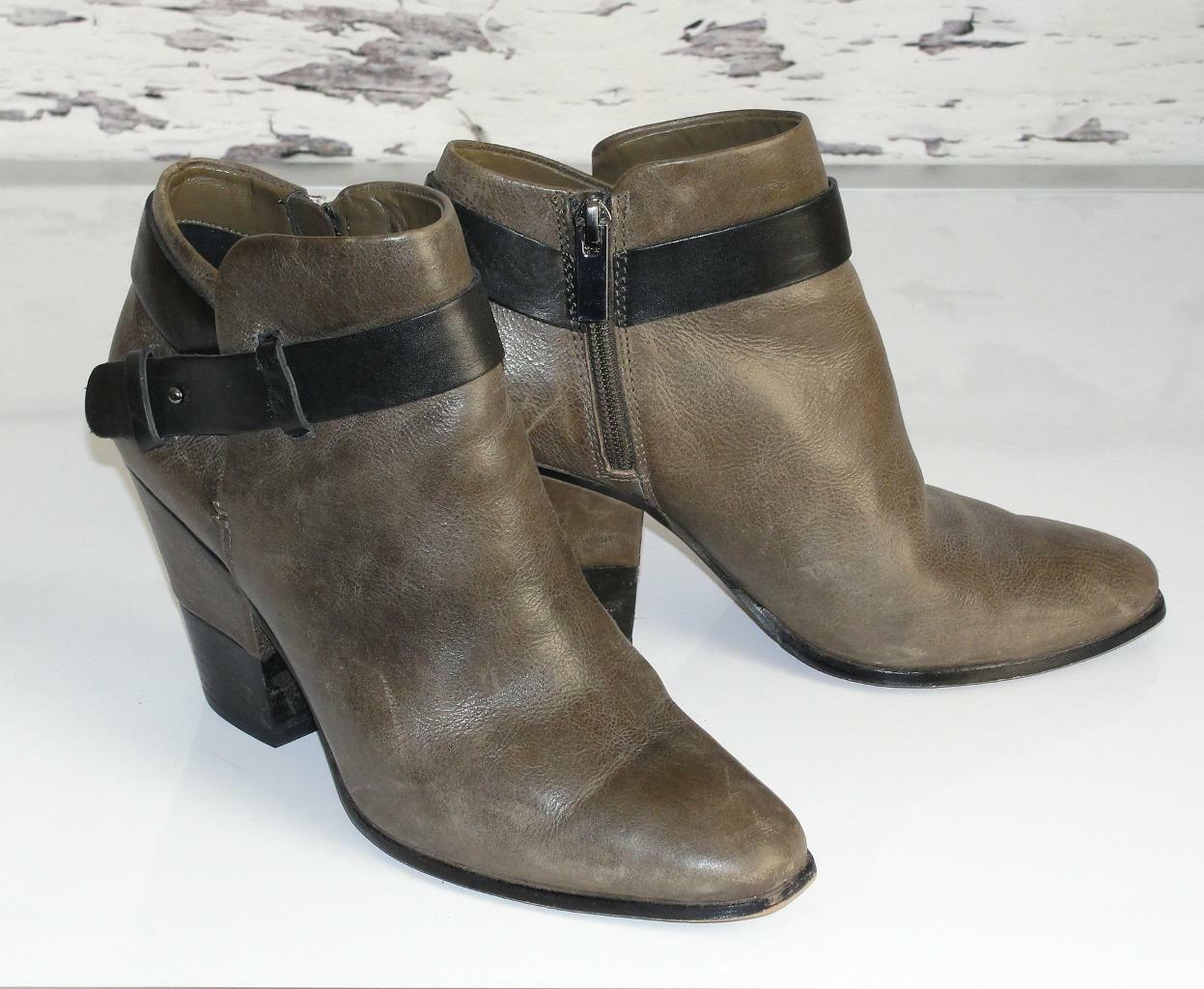 DOLCE VITADISTRESSED BROWNLEATHER BELTED ANKLE FASHION BOOTS BOOTIES7.5