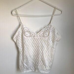 Undercover-Wear-Vintage-Slip-Set-Skirt-Chemise-Cream-Sheer-Lace-Womens-Small-Med