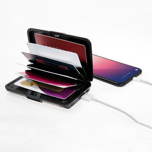 RFID blocking automatiques /& carte de crédit titulaire protecteur avec Power Bank /& Light