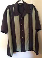 Men's Retro Rockabilly Steady Clothing Green Panel Stitch Bowling Shirt L