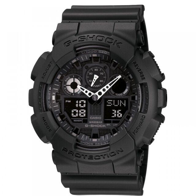 Casio G-SHOCK Military Series CHRONOGRAPH Black Mens Watch GA-100-1A1ER RRP £110