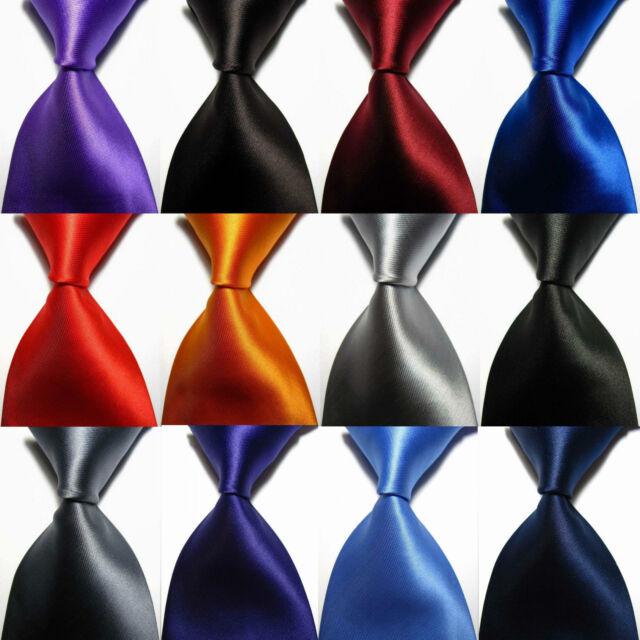 Classic Black Blue Red Orange Solid Plain Woven Silk Blend Mens Tie Necktie Ties
