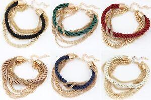 Damen-Vintage-Armband-Kette-Gold-Geschenk-Trendy-Bracelet-Hochzeit-Braut-Party
