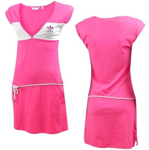 Adidas D 3-Stripe Dress Damen Sommer Kleid Trefoil Long Shirt Tunika Women pink