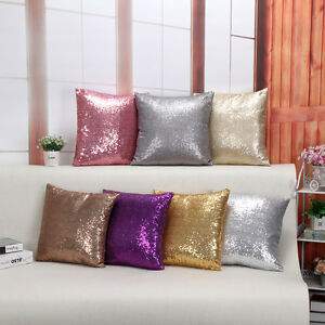Solid-Glitter-Sequins-Throw-Pillow-Case-Cafe-Home-Decor-Cushion-Cover-US-Stock