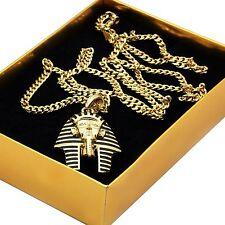 "Men's 14k Gold Plated Black Stripe Micro Pharaoh Pendant Hip Hop 30"" Cuban Chain"