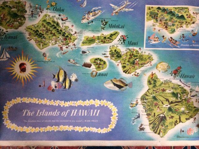 the islands of Hawaii Dessiaume 1957 - Original - 79,5 x 52 cm -