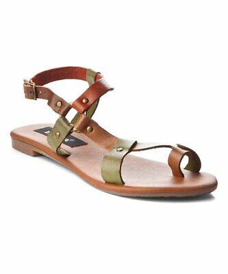 GIO&MI Brand Khaki Tan Rust Leather Strappy Sandal Flats Size 38 NEW | eBay