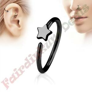 316L-Surgical-Steel-Black-Ion-Plated-Nose-amp-Ear-Cartilage-Ring-with-Star