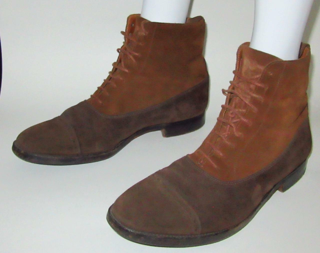 Men's SANDRINGHAM Two Tone Brown Suede High Top shoes Low Boots, England 8E