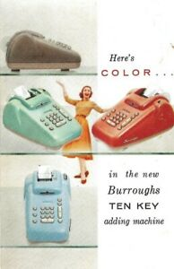 WILLIAM-BURROUGHS-034-NEW-BURROUGHS-TEN-KEY-COLOR-ADDING-MACHINE-034-POSTCARD-1954